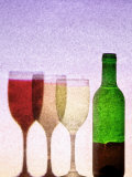 Red Wine Bottle with Three Glasses Photographic Print by Peter Howard Smith