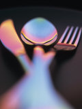 Knife, Fork and Spoon in Red and Blue Light Photographic Print by Vladimir Shulevsky