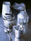 Two Old Kettles, Milk Jug, Measuring Jug and Spoons Photographic Print by Michael Paul