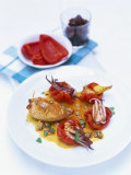Calamari Ripieni (Stuffed Squid with Shellfish Sauce) Photographic Print by Peter Medilek