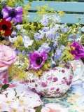 Anemones and Delphiniums in a Teapot Photographic Print by Linda Burgess