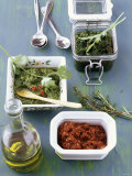 Three Pasta Sauces: Green Pesto, Pesto with Chili, Red Pesto Photographic Print by J&#246;rn Rynio