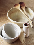 Pudding Basins, Wooden Spoons, Kitchen String, Baking Parchment Photographic Print by Michael Paul