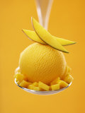 Mango Sorbet with Fresh Fruit on a Spoon Photographic Print by Marc O. Finley