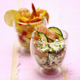 Cucumber and Grapefruit Salad, Mango and Shrimp Salad Photographic Print by Bernard Radvaner