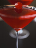 Cranberry Martini with Cocktail Cherry Photographic Print by Michael Paul