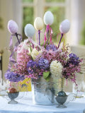 Easter Arrangement of Hyacinths Decorated with Eggs Photographic Print by Friedrich Strauss