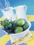 Limes, Mint and Thyme in a Bowl Photographic Print by Linda Burgess