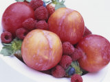 Fruit Bowl with Red Plums and Raspberries Photographic Print by Linda Burgess