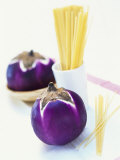 Round Aubergines and Spaghetti Photographic Print by Peter Medilek