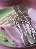 Decorative Silver Forks and Fish Knives on Fabric Napkins Photographic Print by Michael Paul