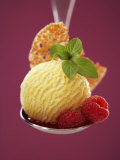 A Scoop of Vanilla Ice Cream with Hot Raspberries on a Spoon Photographic Print by Marc O. Finley