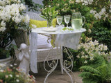 Meringues and Woodruff Punch on Romantic Garden Table Photographic Print by Friedrich Strauss