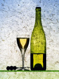 White Wine Glass, Half-Full White Wine Bottle and Corkscrew Photographic Print by Peter Howard Smith
