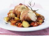 Monkfish Rolls Wrapped in Parma Ham with Roasted Vegetables Photographic Print