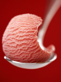 Strawberry Ice Cream on a Spoon Photographic Print by Marc O. Finley