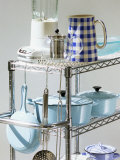 Assorted Cookware on a Rack Photographic Print by Linda Burgess