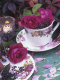 Table and Tableware Decorated with Roses Photographic Print by Elke Borkowski