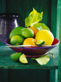 Fresh Citrus Fruits in Red Bowl Photographic Print
