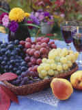 Basket of Grapes with Pears in Foreground Photographic Print by Vladimir Shulevsky