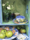 Coffee Cup, Flowers and Bowl of Apples on Shelves Photographic Print by Linda Burgess