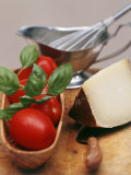 Fresh Tomatoes, Basil and Piece of Cheese, Sauce-Boat Photographic Print