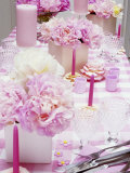 Laid Table with Pink Accessories and Peonies Photographic Print by Linda Burgess