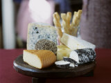 Various Types of Cheese with Cheese Straws Photographic Print by Alena Hrbkova