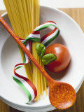 Spaghetti, Tomato and Basil Photographic Print