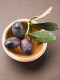 Olive Sprig with Black Olives in Terracotta Bowl Photographic Print