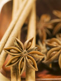 Star Anise and Cinnamon Sticks in Wooden Bowl Photographic Print