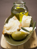 Green Olive, White Bread, Parmesan and Olive Oil Photographic Print