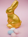 Gold Easter Bunny and Sugar Eggs Fotografisk tryk