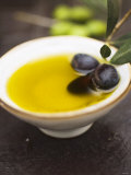 Olive Oil in Small Bowl with Black Olives Photographic Print