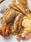 Baked Beans with Scrambled Egg, Sausages, Bacon, Tomato & Toast Photographic Print