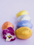Chocolate Eggs in Foil, with Pansy Photographic Print
