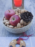 Christmas Decoration with Apples, Nuts, Candle & Gingerbread Photographic Print