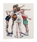 Four Sporting Boys, Oh Yeah Reproduction procédé giclée par Norman Rockwell