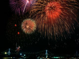 Fireworks Over Rainbow Bridge, Tokyo Bay, Japan Photographic Print