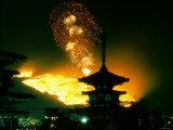 Pagodas of Yakushi-Ji Temple on Wakakusa Yama During Yama-Yaki (Fire Festival), Nara, Japan Photographic Print