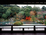 Garden of Tenryu-Ji Temple in Autumn, Kyoto, Japan Photographic Print
