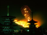 Yamayaki (Fire Festival) and Yakushiji Pagoda Photographic Print