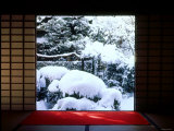 Garden View on Snowy Day from a Room at Koutouin, Daitoku-Ji Temple Complex, Kyoto, Japan Photographic Print