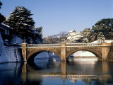 Niju-Bashi Bridge of Moat of Imperial Palace, Tokyo, Japan Photographic Print