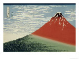 36 Views of Mount Fuji, no. 2: Mount Fuji in Clear Weather (Red Fuji) Giclée-tryk af Katsushika Hokusai