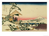 36 Views of Mount Fuji, no. 24: Tea House at Koishikawa (The Morning after a Snowfall) Giclée-Druck von Katsushika Hokusai