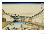 36 Views of Mount Fuji, no. 31: Nihonbashi Bridge in Edo Giclee Print by Katsushika Hokusai