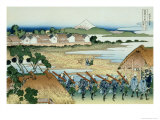 36 Views of Mount Fuji, no. 38: Pleasure District at Senju Giclee Print by Katsushika Hokusai