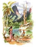 Tahiti Giclée-trykk av Louis Macouillard