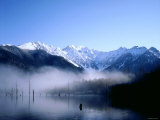 Morning Mist Covers Taisho-Ike Lake and Hodaka Mountain Range, Kamikochi, Nagano, Japan Photographic Print